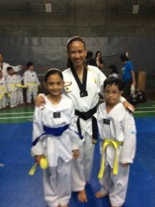Danielle with their coach Pauline and Joshua